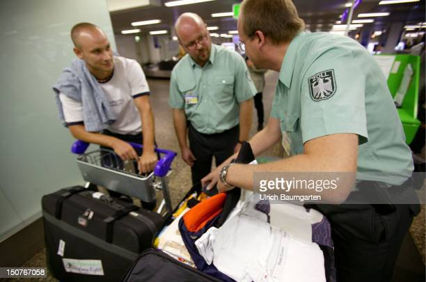 Customs examination in the RheinMain airport Frankfurt