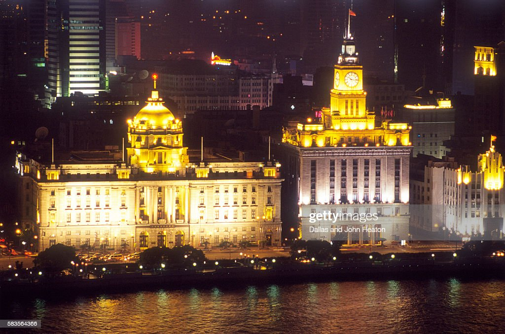 Customs House, The Bund, Whampoa River, Shanghai, China : Stock Photo