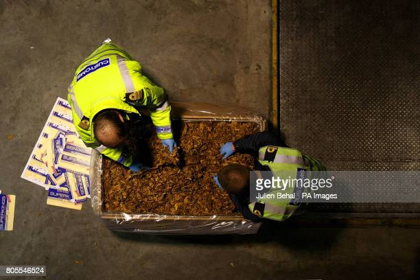 Customs Officers examine the huge haul of illegal tobacco and cigarettemaking materials seized from a container at Custom House Dublin