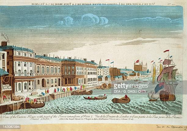 Customs viewed from the River Thames London England 18th century Engraving