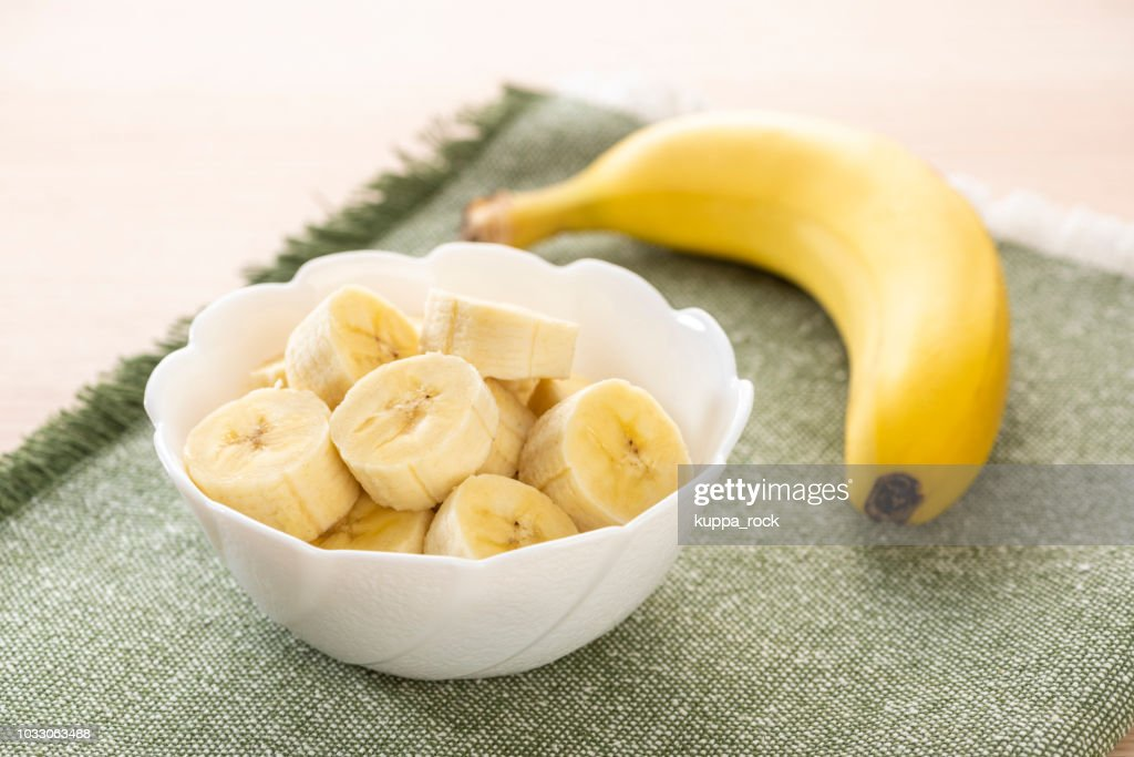 Cut bananas in the plate : Stock Photo