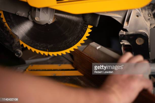 cut base board saw - mitre stock pictures, royalty-free photos & images