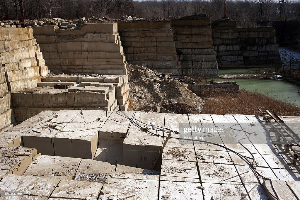 Cut blocks of sandstone wait to extracted from the sandstone quarry at the Cleveland Quarries facility in Vermilion, Ohio, U.S., on Friday, Feb. 1, 2013. Spending on U.S. construction projects climbed more than forecast in December, showing the housing industry is sustaining gains that may lift the economy. Photographer: Ty Wright/Bloomberg via Getty Images