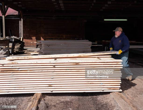 Cut boards of hard maple are stacked in a shed of Cooksburg Lumber Company in Preston Hollow, New York on March 12, 2019. Cooksburg Lumber Company...