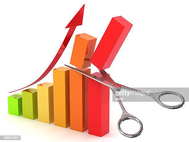 cut costs graph - commercial activity stock photos and pictures
