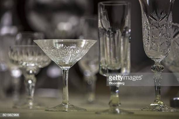 Cut glass drinking vessels sit in the cutting room at the Novosad Son Glassworks in Harrachov Czech Republic on Friday Dec 18 2015 Glassworks...