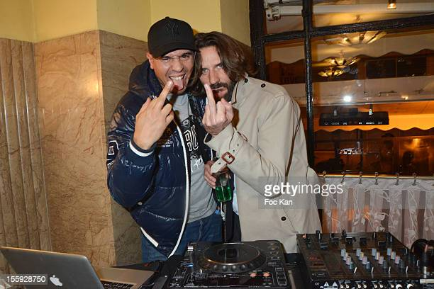 Cut Killer and Frederic Beigbeder attend the 'Prix De Flore 2012' Literary Award Ceremony Party at the Cafe de Flore on November 8 2012 in Paris...