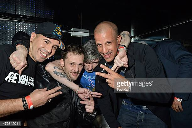 Cut Killer Nicolas Duvauchelle Kavinsky and Rim'K attend the Kavinsky Olympia Concert After DJ Set Party at the VIP Room Theater on March 17 2014 in...