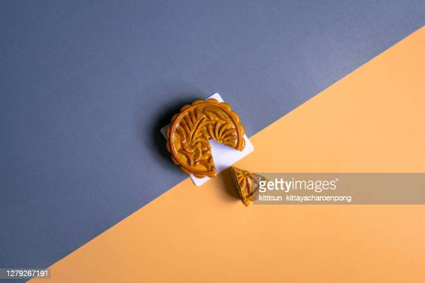 cut mooncake - moon cake stock pictures, royalty-free photos & images