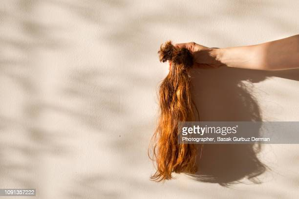 cut off hair, dangling from woman's hand - ponytail stock pictures, royalty-free photos & images