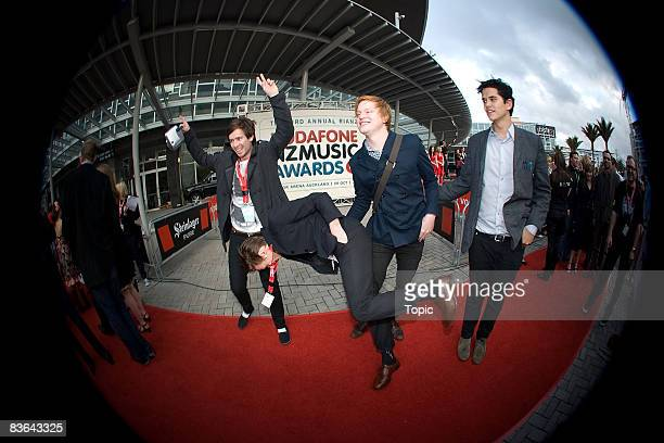 Cut Off Your Hands arrive at the Vodafone New Zealand Music Awards 2008 at Vector Arena on October 8 2008 in Auckland New Zealand The 2008 awards...