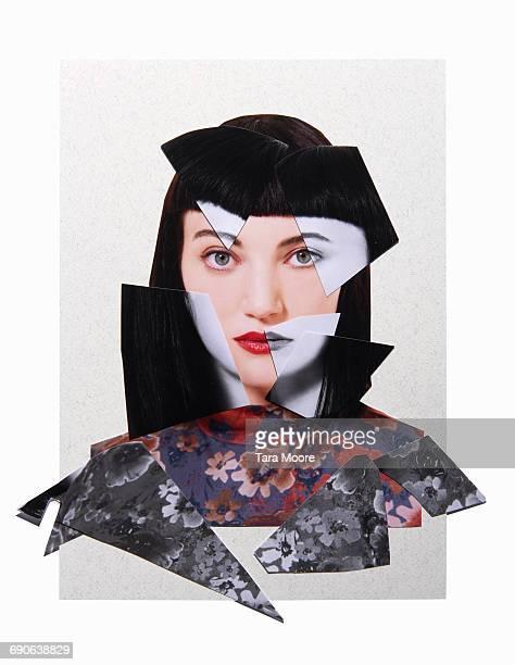 cut out collage of woman - composizione foto e immagini stock