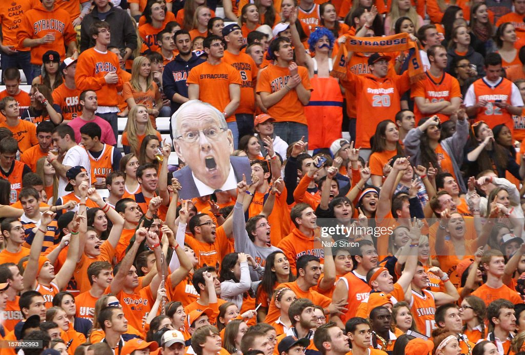 A cut out head of head coach Jim Boehiem of the Syracuse Orange is seen in the crowd as fans cheer during the game against the Long Beach State 49ers at the Carrier Dome on December 6, 2012 in Syracuse, New York.