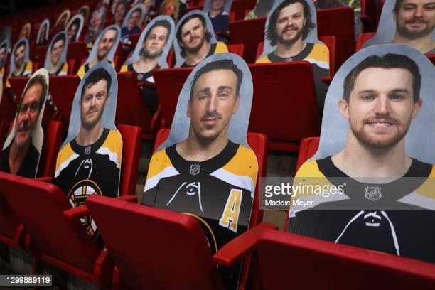Cut out images of the Boston Bruins in the stands before the Isobel Cup game between the Buffalo Beauts and the Boston Pride at Herb Brooks Arena on...