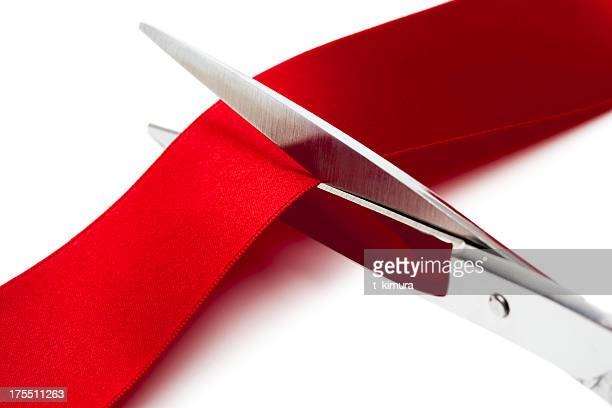 cut red ribbon - opening ceremony stock pictures, royalty-free photos & images