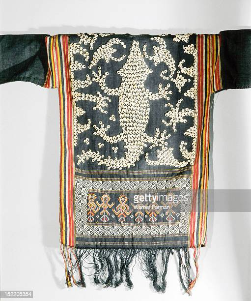 Cut shell decorated jacket worn by Apo Kayan people at ceremonies connected with agriculture warfare and the commemoration of the dead Back view...
