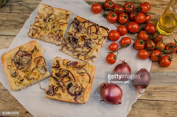 Cut slices of focaccia