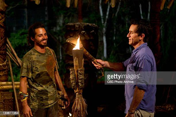 Cut Throat – Ozzy Lusth has his torch snuffed out by Jeff Probst during the ninth episode of SURVIVOR SOUTH PACIFIC on the CBS Television Network