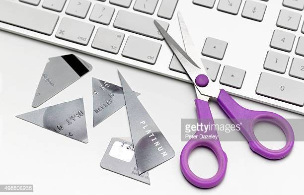 Cut up credit card on keyboard