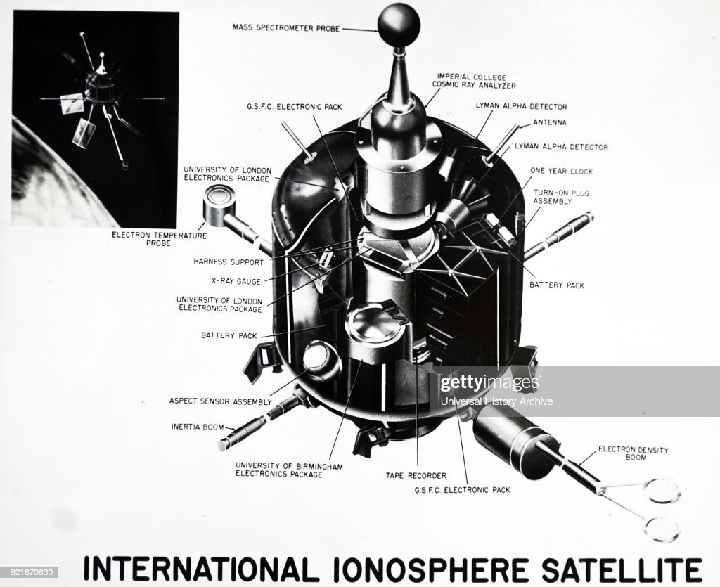 Cutaway drawing showing an instrument of the international ionosphere satellite (S-51), the first of the three satellites in the co-operative international programme being conducted by the United Kingdom and the United States. Dated 20th century.