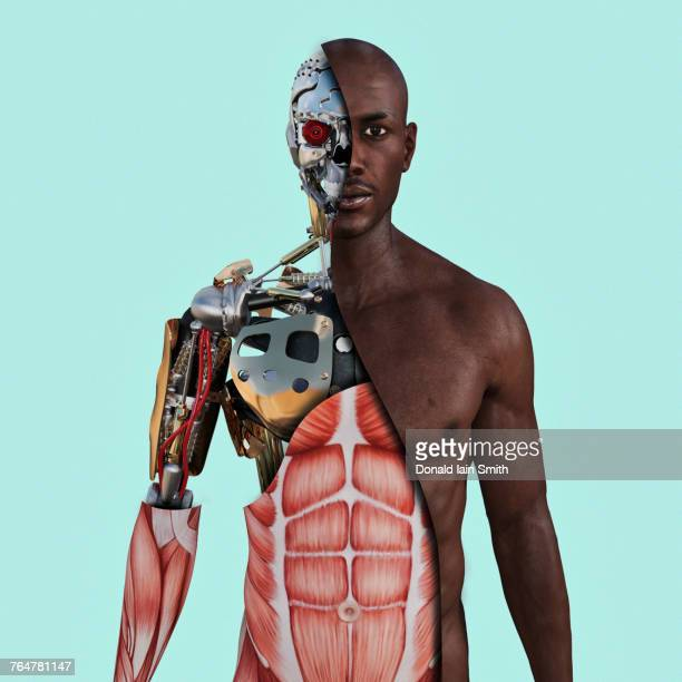 cutaway of cyborg - android stock pictures, royalty-free photos & images