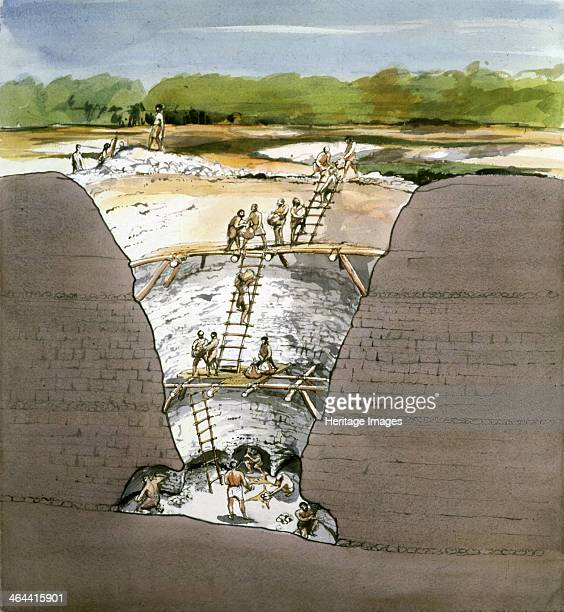 Cutaway Section through Grime's Graves Neolithic Flint Mine Norfolk 1987 This reconstruction of what is probably the most widely explored and best...
