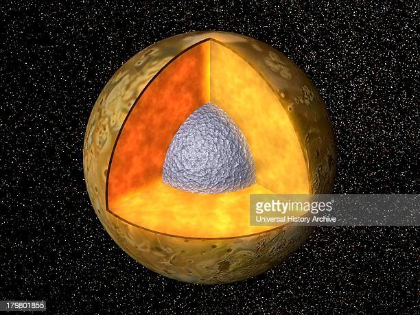 Cutaway view of the possible internal structure of Io