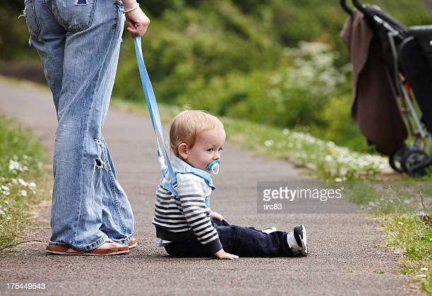 cute 18 month old boy on footpath - safety harness stock pictures, royalty-free photos & images