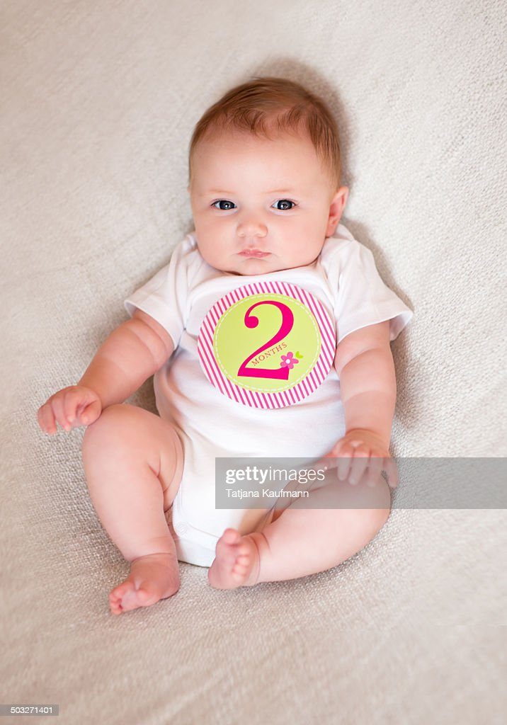 Cute 2 Month Old Baby Girl On A Blanket Stock Photo Getty Images