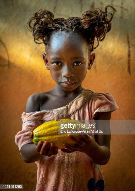 Cute african girl with a cocoa fruit pod in her hands Région des Lacs Yamoussoukro Ivory Coast on May 7 2019 in Yamoussoukro Ivory Coast