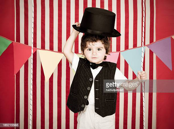 Cute and young boy as ringmaster