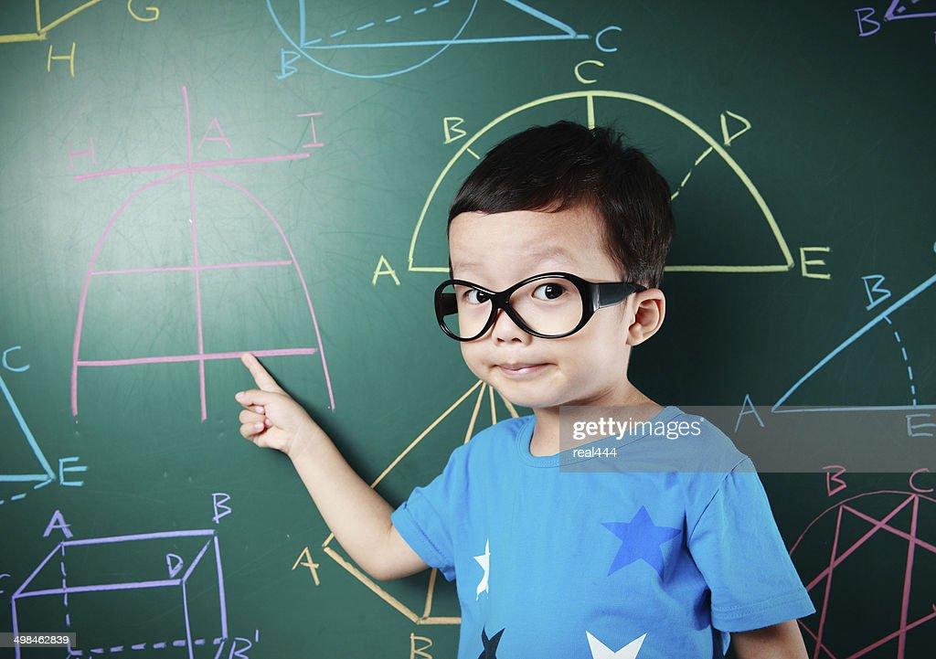 Cute asia children do arithmetic : Stock Photo