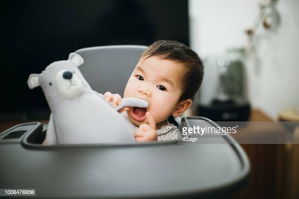 Cute baby biting cuddly soft toy on high chair