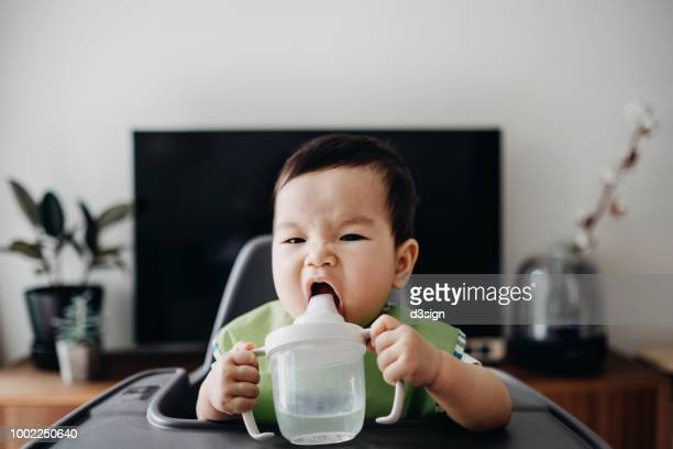 cute baby drinking water from sip cup on high chair - first occurrence stock pictures, royalty-free photos & images