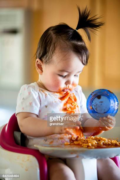 Cute Baby Girl Eating Spaghetti