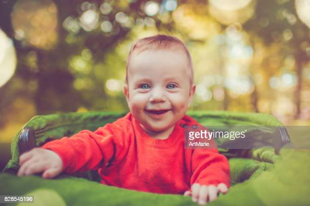 Cute baby in carriage outdoors in autumn