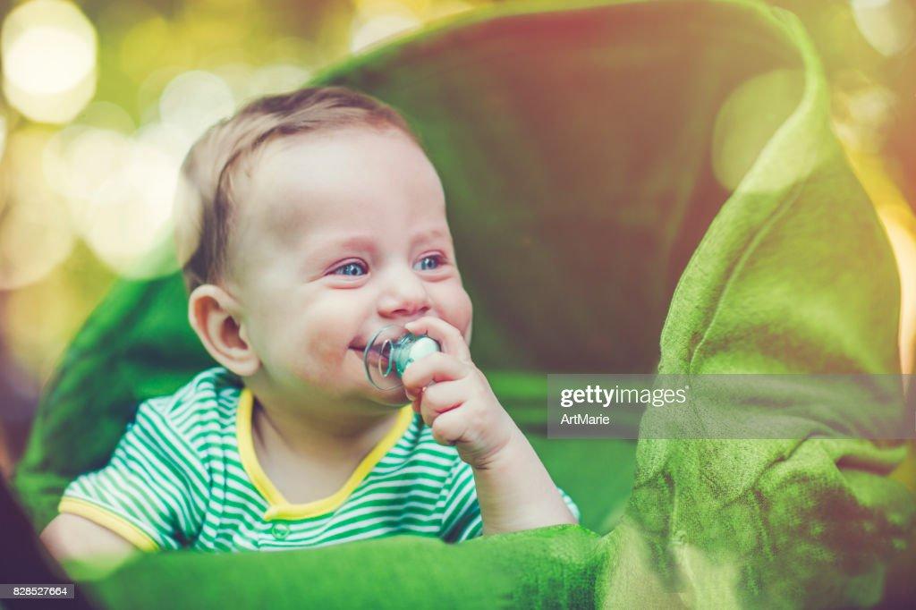 Niedliche Baby im Wagen im Freien im Sommer : Stock-Foto