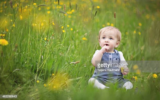 Cute baby sitting in flowery meadow in spring