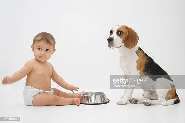 Cute baby with a dog
