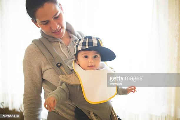 Cute baby with big cap