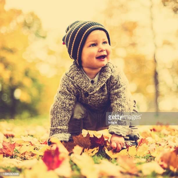 秋のかわいい男の子