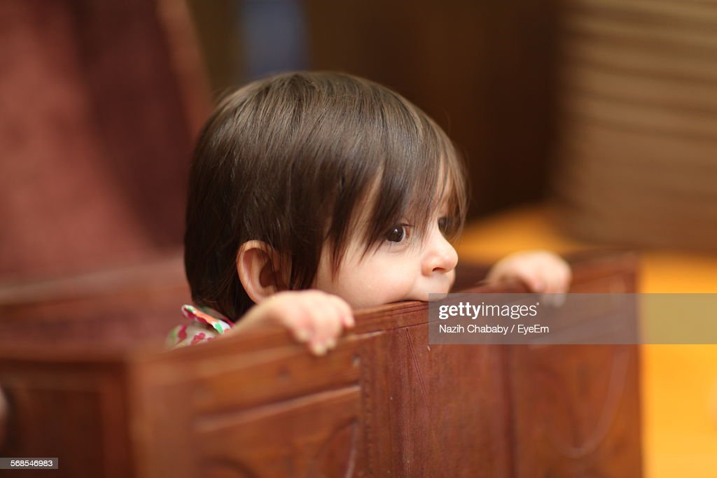 Cute Boy In Treasure Chest At Home : Stock Photo
