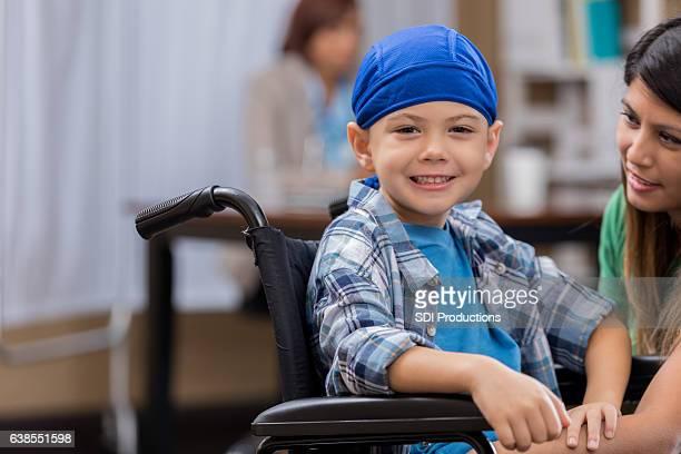 Cute boy in wheelchair