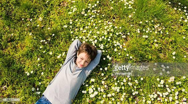 Cute boy lying in meadow