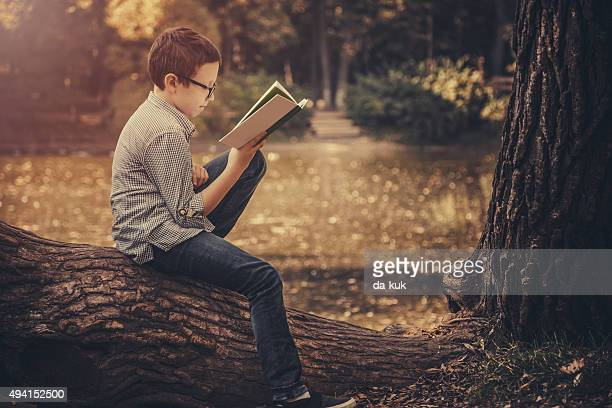 Cute boy reading a book in the park at sunset