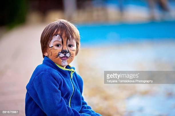 Cute boy with painted face as a lion