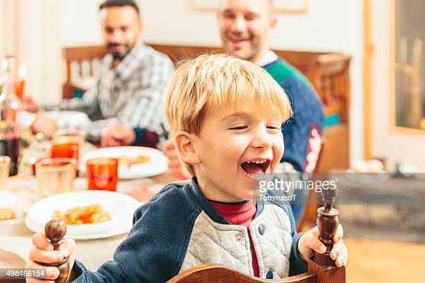 Cute Child making faces during the christmas dinner