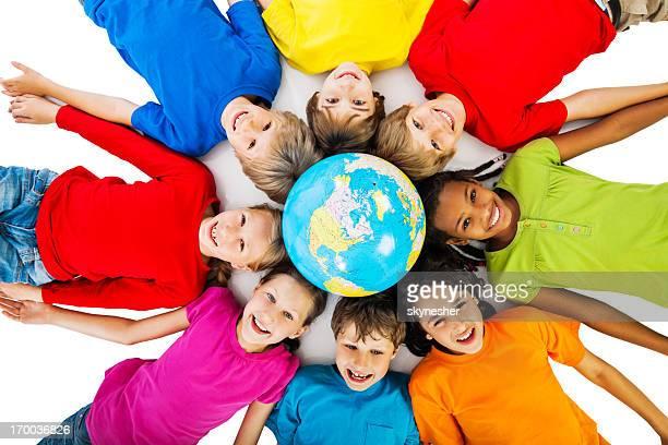 Cute children and the globe.