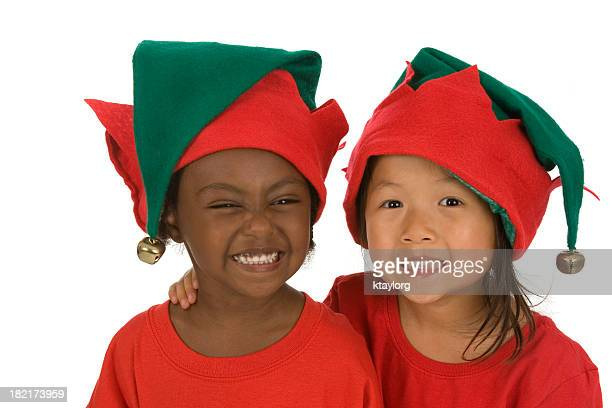 cute christmas elves - green hat stock pictures, royalty-free photos & images