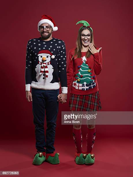 Cute couple in Christmas clothes. Debica, Poland.